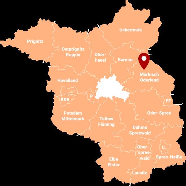 Makler Bliesdorf, Barnim-Oderbruch 16269: Karte