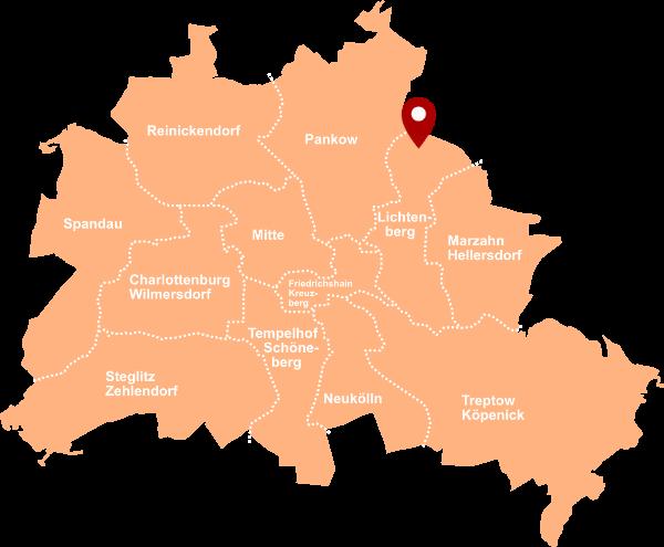 Immobilienmakler Wartenberg, Bezirk Lichtenberg - Karte